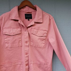 Sanctuary Salmon Pink Button Front Heavy Shirt Lrg